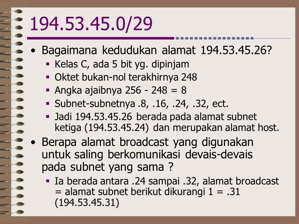 194.53.45.0/29 Bagaimana kedudukan alamat 194.53.45.26