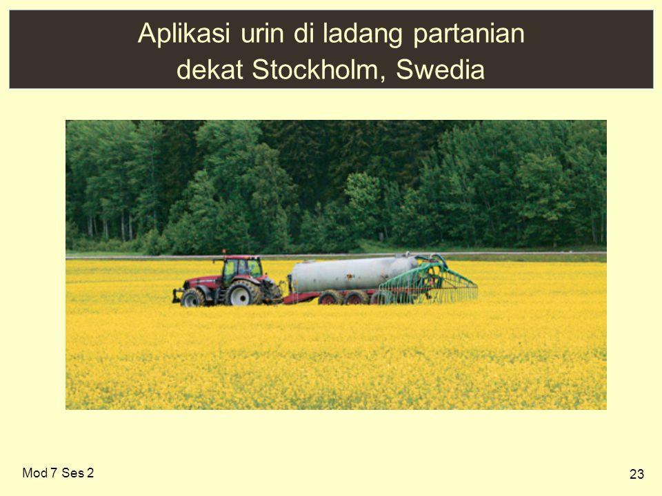 Aplikasi urin di ladang partanian dekat Stockholm, Swedia