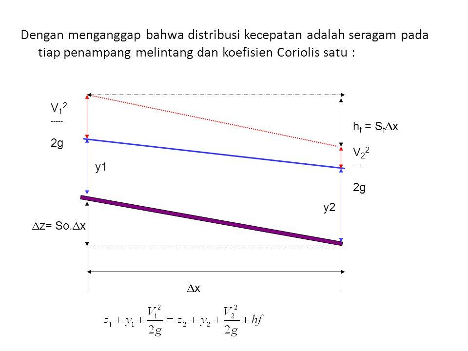 Dengan menganggap bahwa distribusi kecepatan adalah seragam pada tiap penampang melintang dan koefisien Coriolis satu :