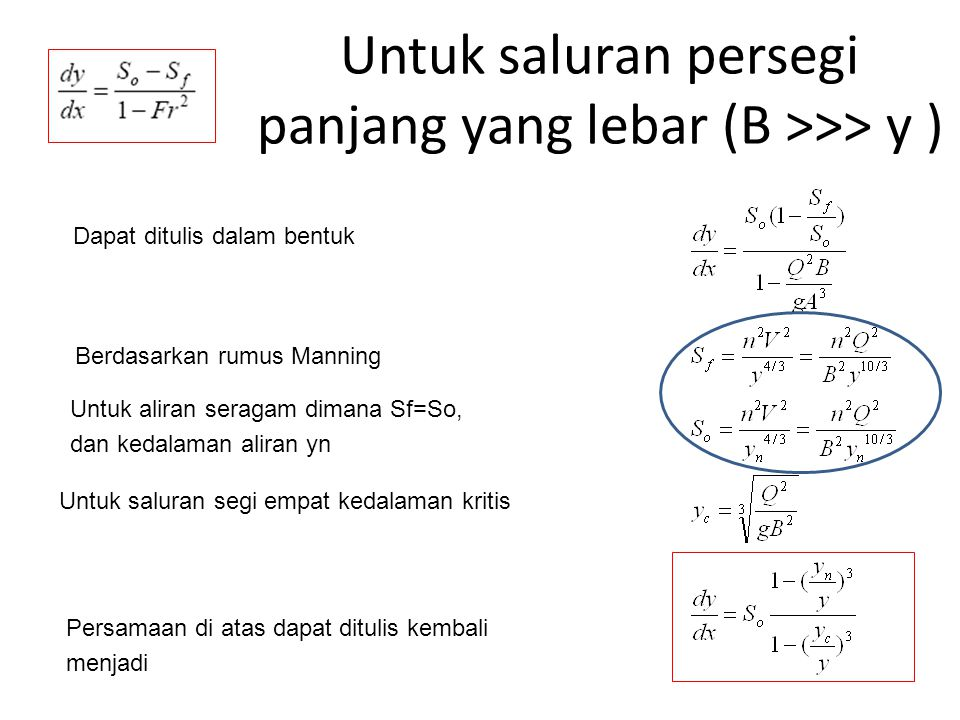 Untuk saluran persegi panjang yang lebar (B >>> y )