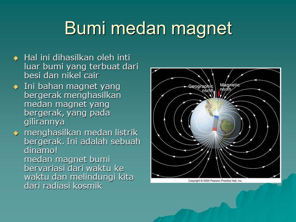 Bumi medan magnet Hal ini dihasilkan oleh inti luar bumi yang terbuat dari besi dan nikel cair.