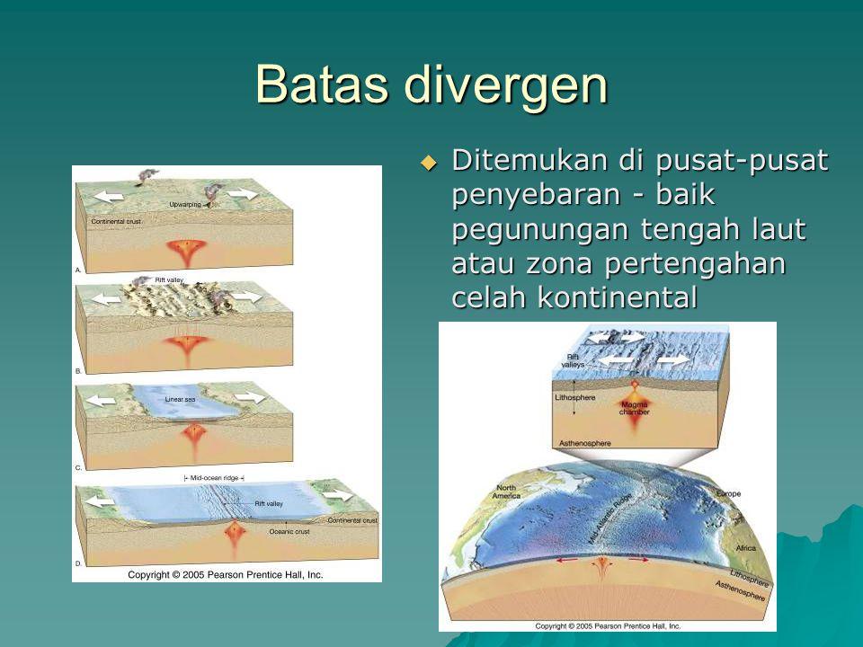 Batas divergen Ditemukan di pusat-pusat penyebaran - baik pegunungan tengah laut atau zona pertengahan celah kontinental.