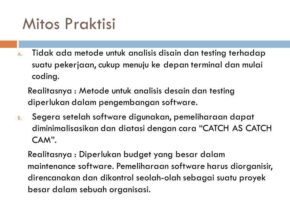 Mitos Praktisi Tidak ada metode untuk analisis disain dan testing terhadap suatu pekerjaan, cukup menuju ke depan terminal dan mulai coding.