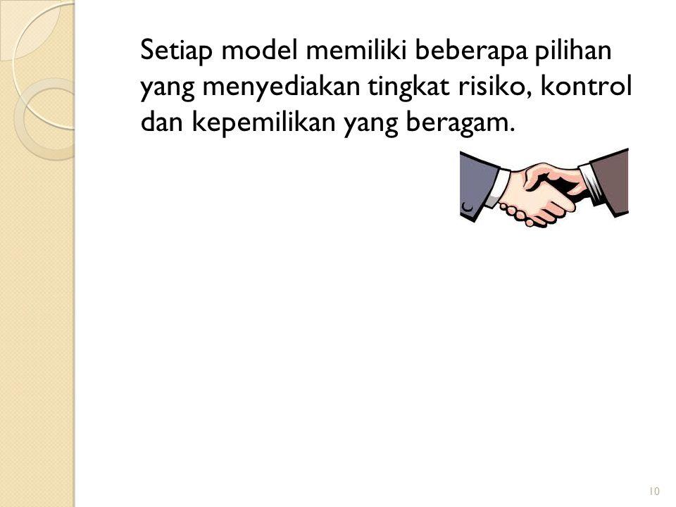 Setiap model memiliki beberapa pilihan yang menyediakan tingkat risiko, kontrol dan kepemilikan yang beragam.