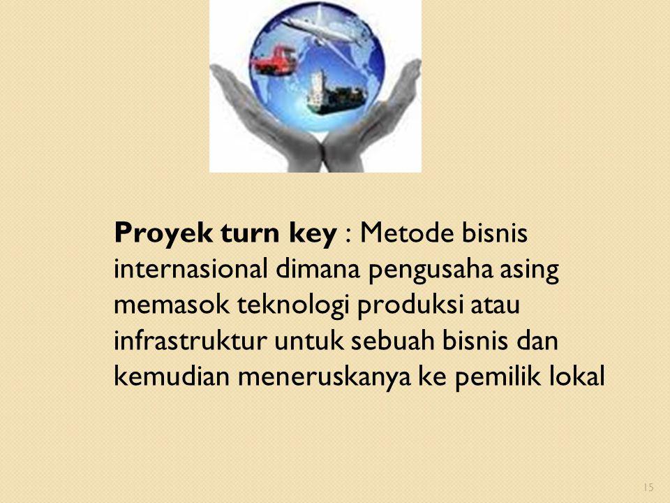 Proyek turn key : Metode bisnis internasional dimana pengusaha asing memasok teknologi produksi atau infrastruktur untuk sebuah bisnis dan kemudian meneruskanya ke pemilik lokal