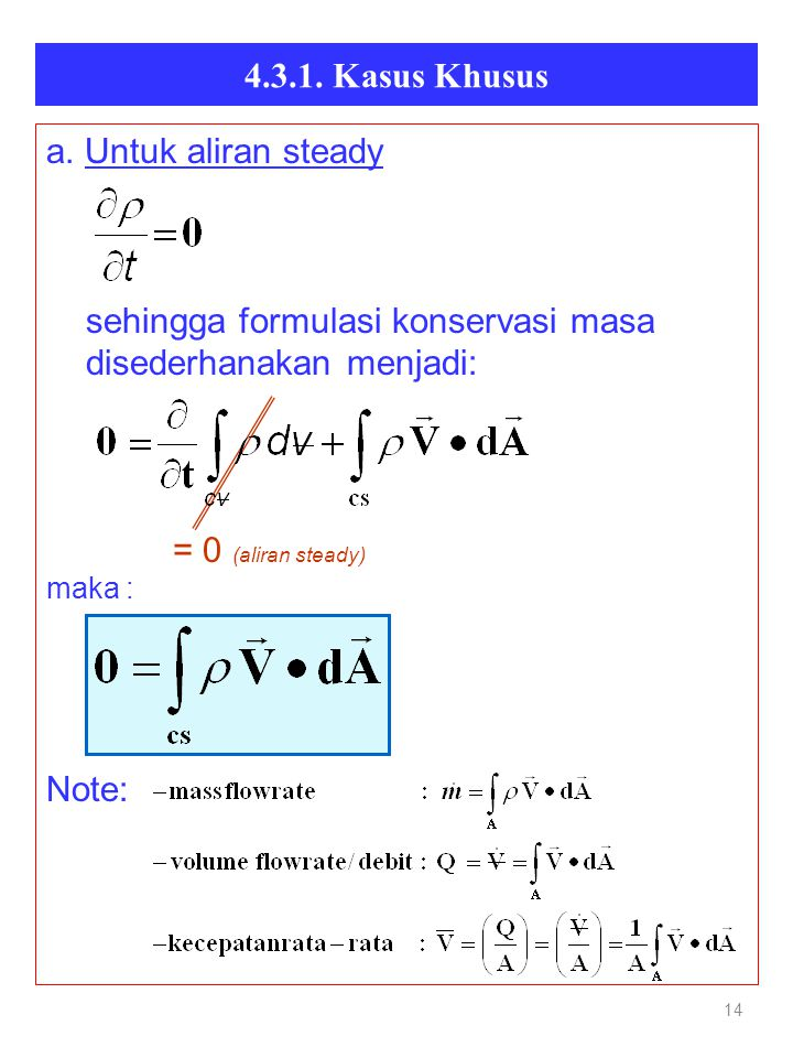 4.3.1. Kasus Khusus a. Untuk aliran steady = 0 (aliran steady) Note: