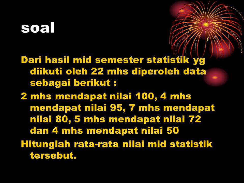 soal Dari hasil mid semester statistik yg diikuti oleh 22 mhs diperoleh data sebagai berikut :