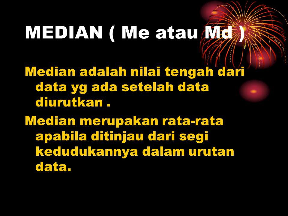 MEDIAN ( Me atau Md ) Median adalah nilai tengah dari data yg ada setelah data diurutkan .