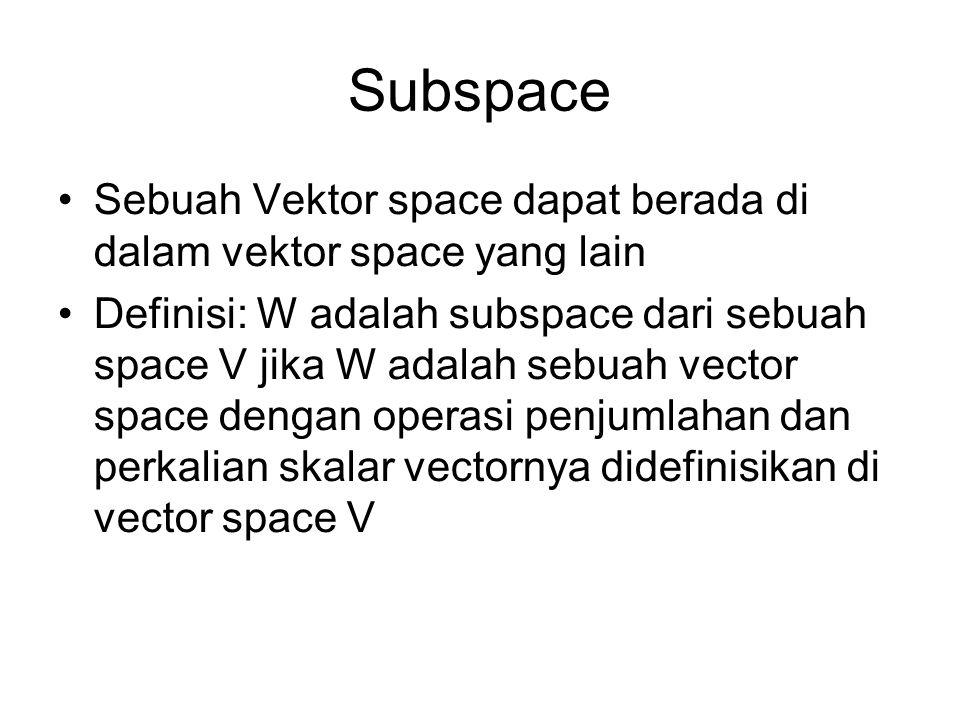 Subspace Sebuah Vektor space dapat berada di dalam vektor space yang lain.