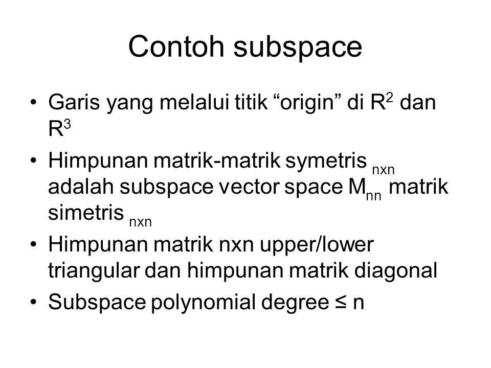 Contoh subspace Garis yang melalui titik origin di R2 dan R3