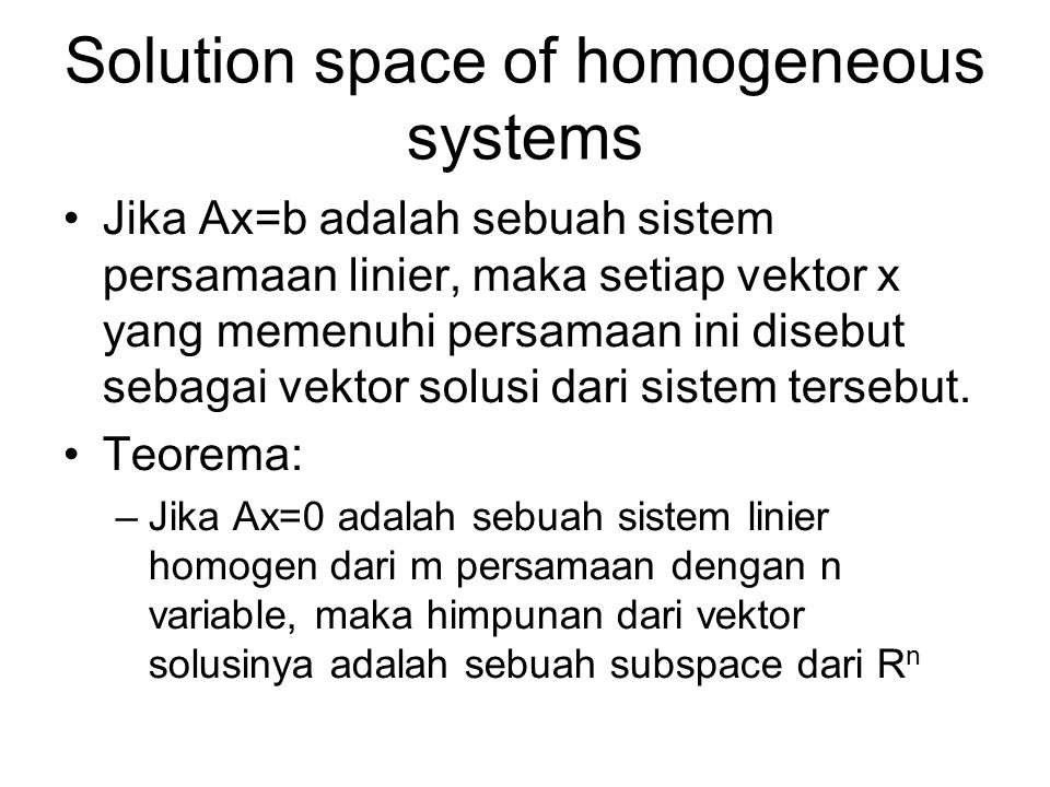 Solution space of homogeneous systems