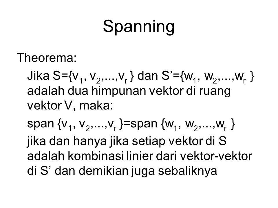 Spanning Theorema: Jika S={v1, v2,...,vr } dan S'={w1, w2,...,wr } adalah dua himpunan vektor di ruang vektor V, maka:
