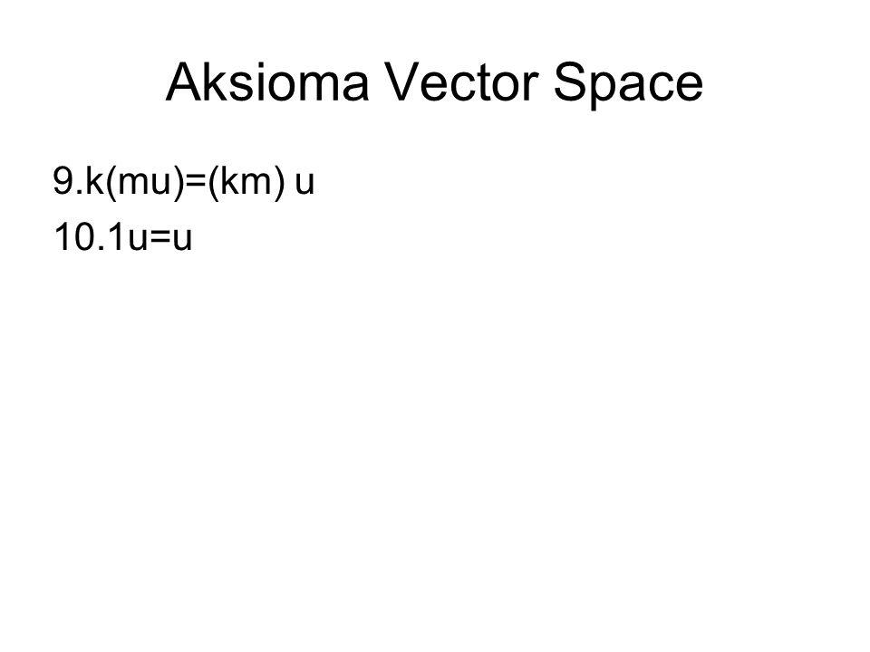 Aksioma Vector Space k(mu)=(km) u 1u=u