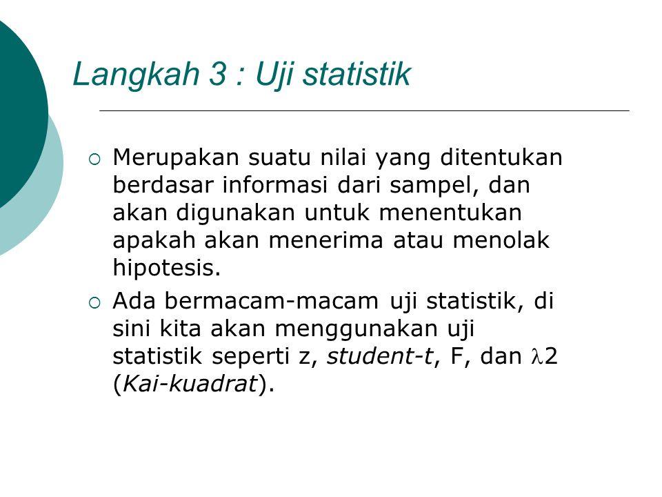 Langkah 3 : Uji statistik