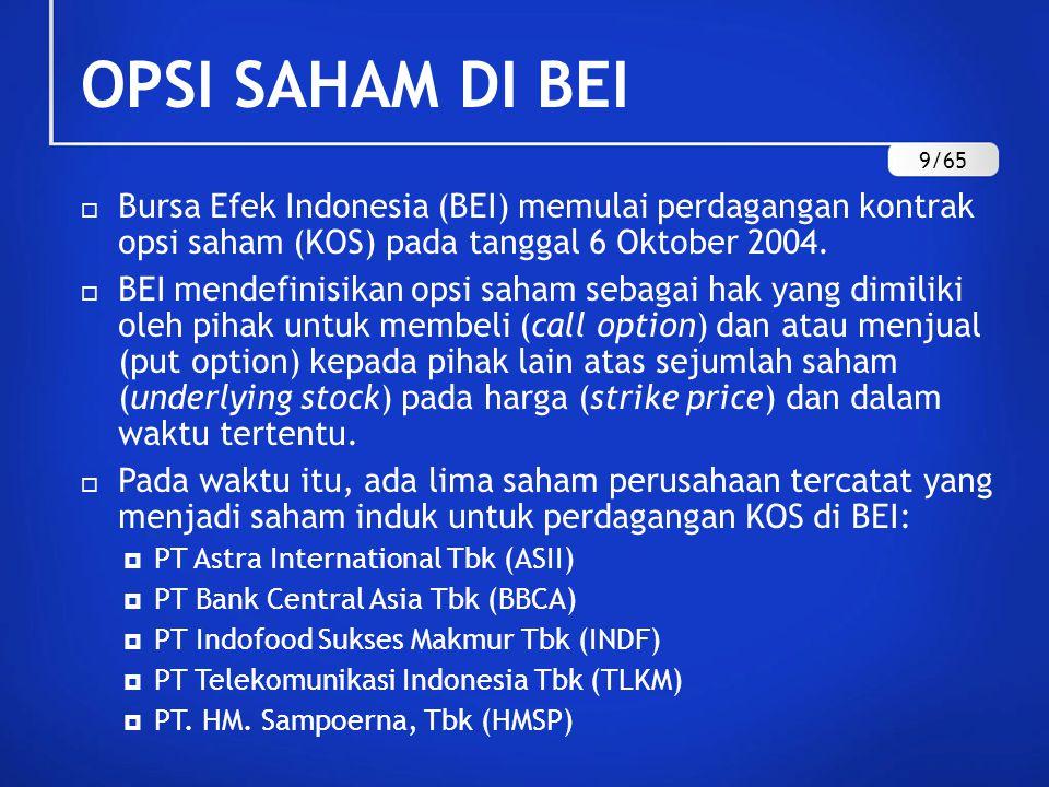 OPSI SAHAM DI BEI 9/65. Bursa Efek Indonesia (BEI) memulai perdagangan kontrak opsi saham (KOS) pada tanggal 6 Oktober 2004.