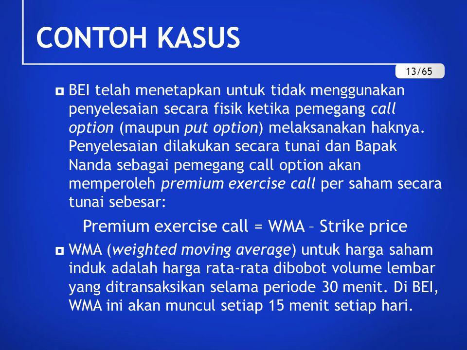 CONTOH KASUS Premium exercise call = WMA – Strike price