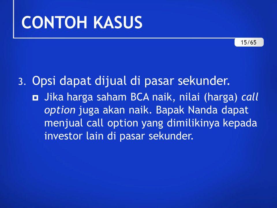 CONTOH KASUS Opsi dapat dijual di pasar sekunder.