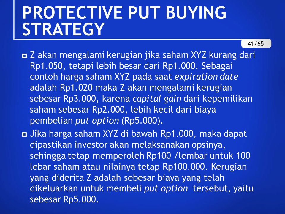 PROTECTIVE PUT BUYING STRATEGY