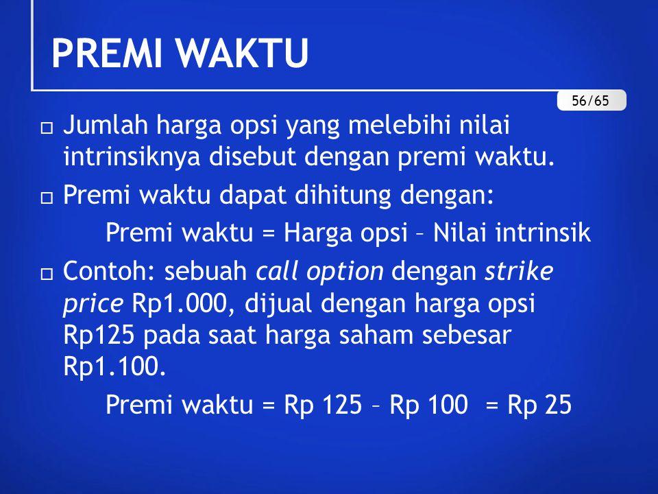 PREMI WAKTU 56/65. Jumlah harga opsi yang melebihi nilai intrinsiknya disebut dengan premi waktu.