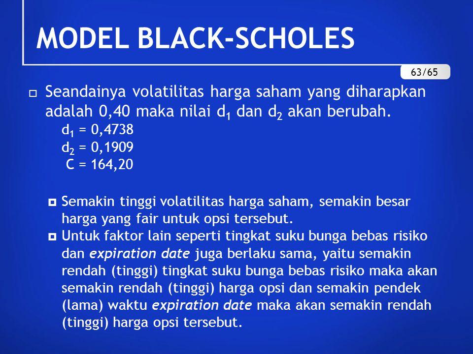 MODEL BLACK-SCHOLES 63/65. Seandainya volatilitas harga saham yang diharapkan adalah 0,40 maka nilai d1 dan d2 akan berubah.