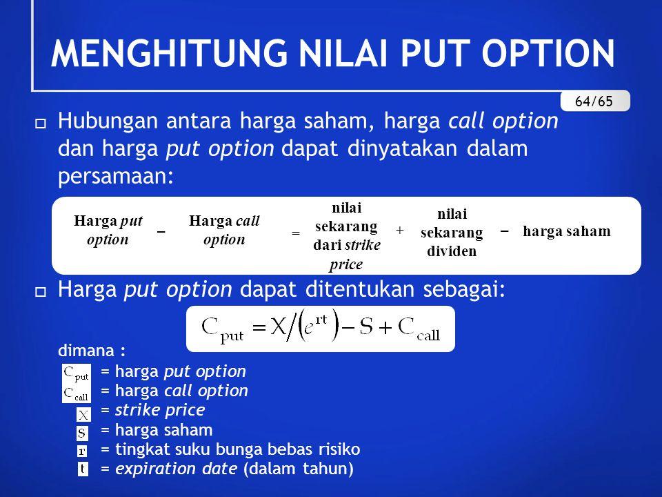MENGHITUNG NILAI PUT OPTION