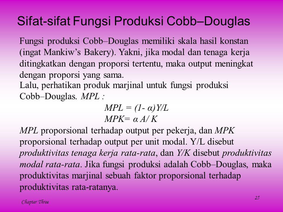 Sifat-sifat Fungsi Produksi Cobb–Douglas