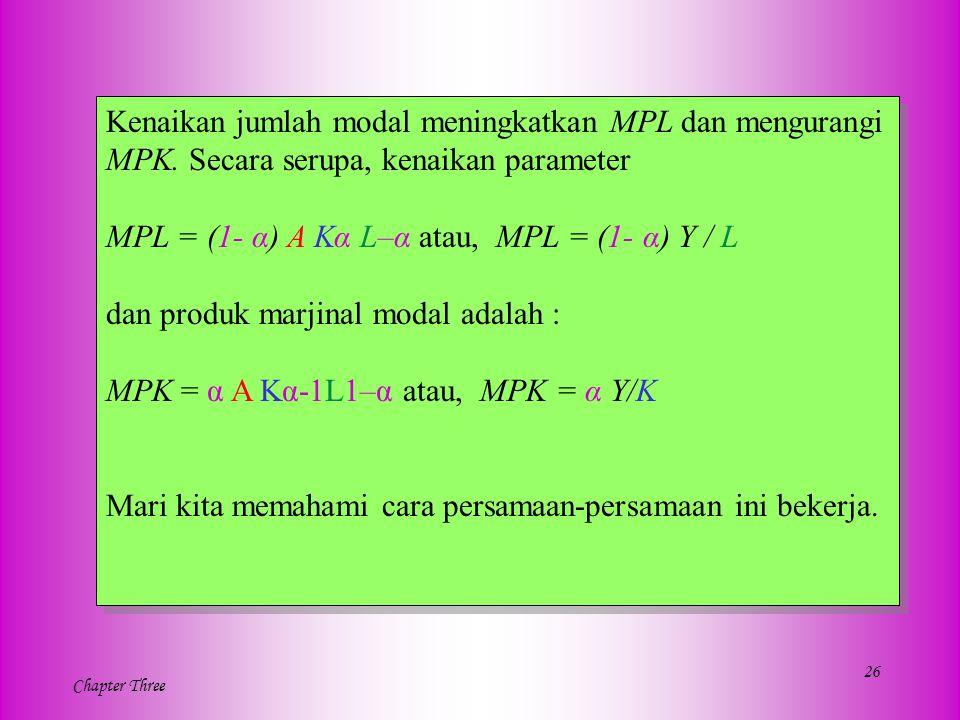Kenaikan jumlah modal meningkatkan MPL dan mengurangi