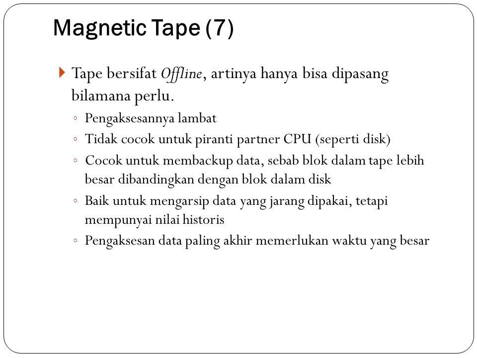 Magnetic Tape (7) Tape bersifat Offline, artinya hanya bisa dipasang bilamana perlu. Pengaksesannya lambat.
