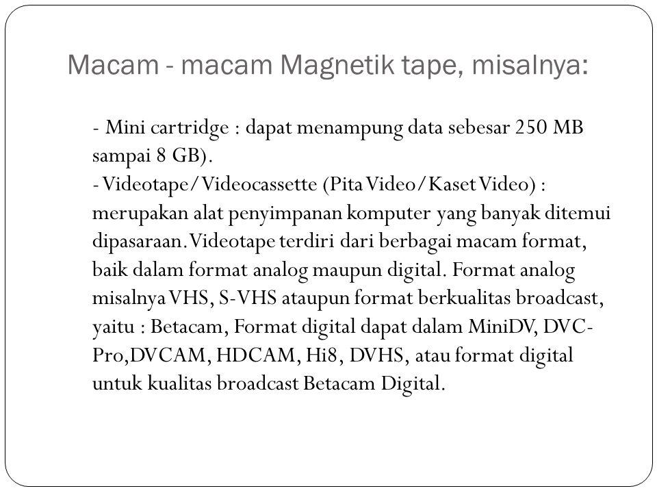 Macam - macam Magnetik tape, misalnya: