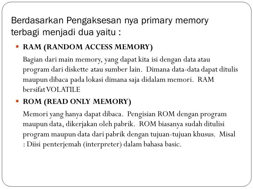 Berdasarkan Pengaksesan nya primary memory terbagi menjadi dua yaitu :