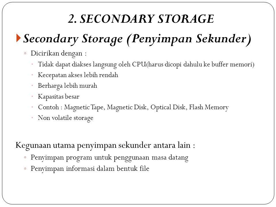 Secondary Storage (Penyimpan Sekunder)