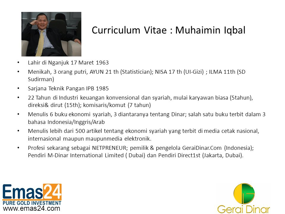 Curriculum Vitae : Muhaimin Iqbal
