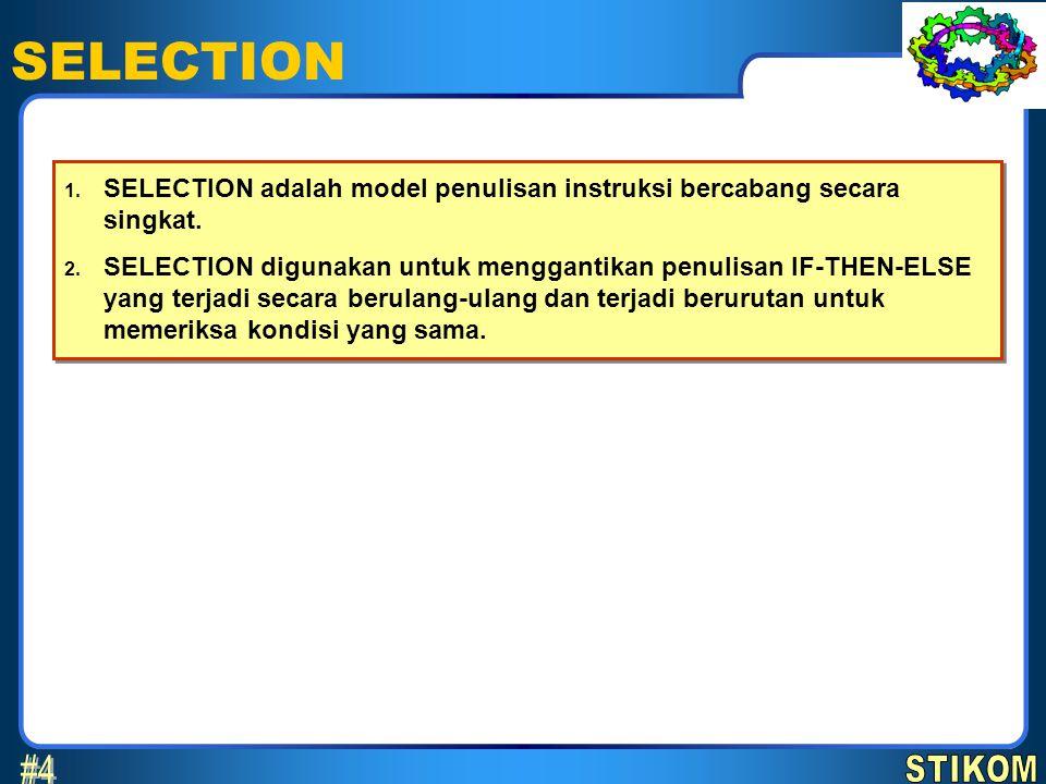 SELECTION 2 April 2017. SELECTION adalah model penulisan instruksi bercabang secara singkat.