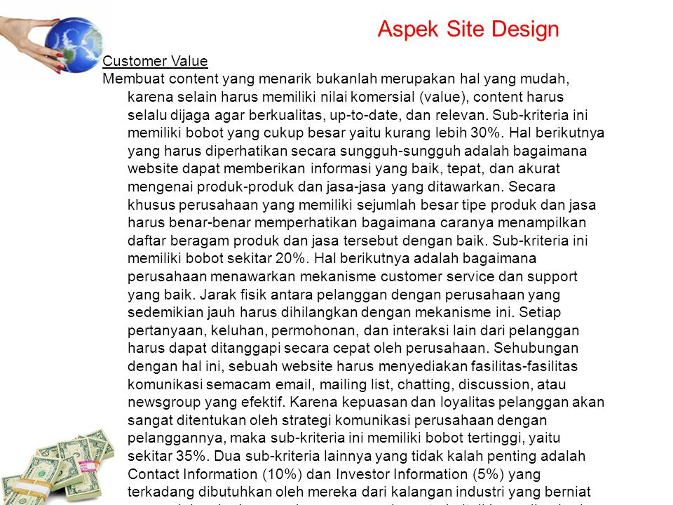 Aspek Site Design Customer Value