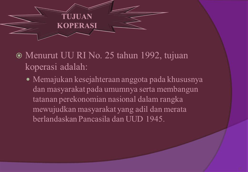 . Menurut UU RI No. 25 tahun 1992, tujuan koperasi adalah: