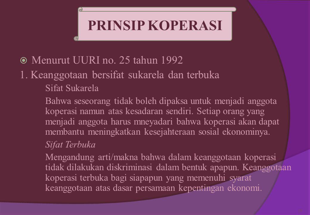 . PRINSIP KOPERASI Menurut UURI no. 25 tahun 1992