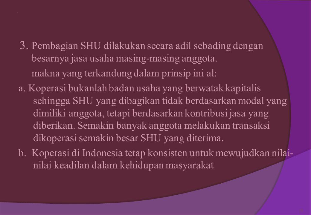 . 3. Pembagian SHU dilakukan secara adil sebading dengan besarnya jasa usaha masing-masing anggota.