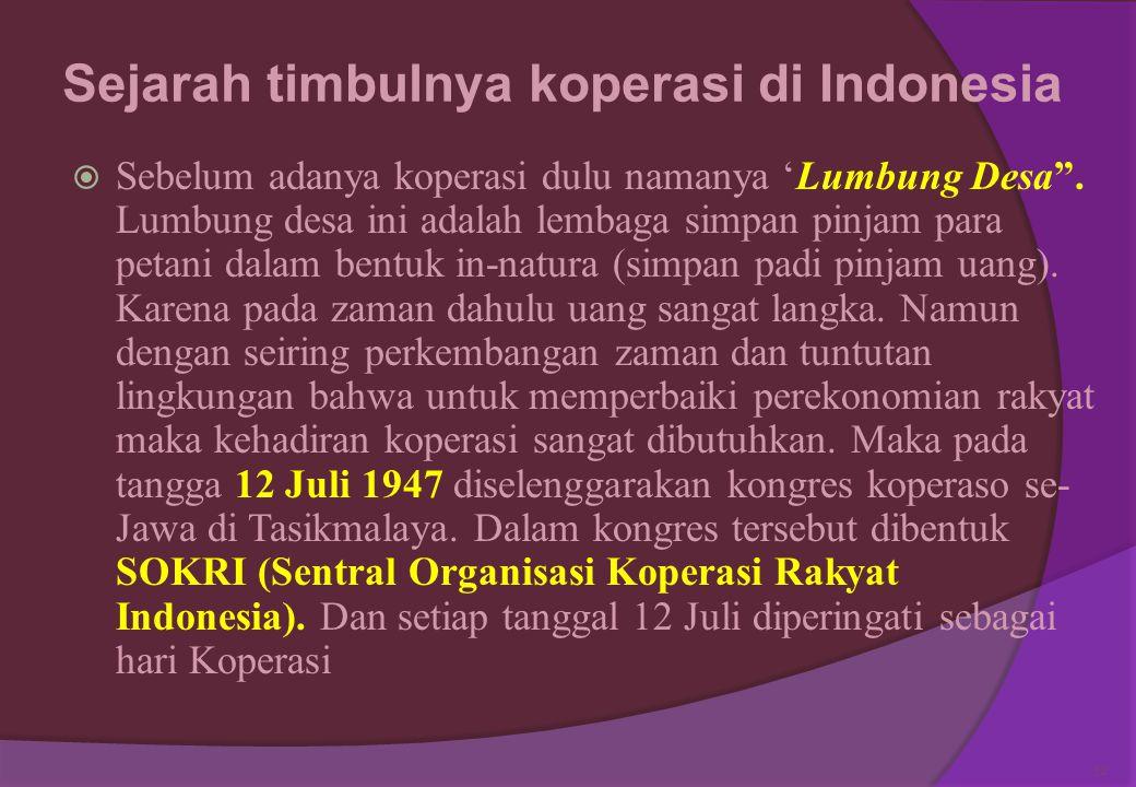 Sejarah timbulnya koperasi di Indonesia