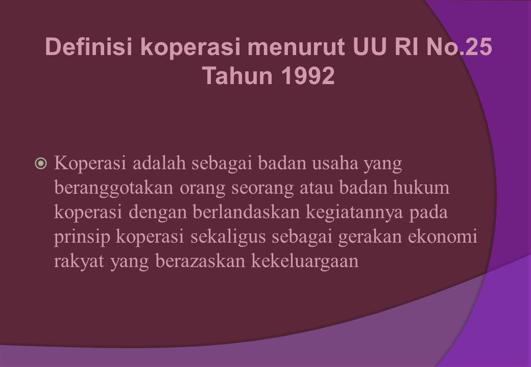 Definisi koperasi menurut UU RI No.25 Tahun 1992