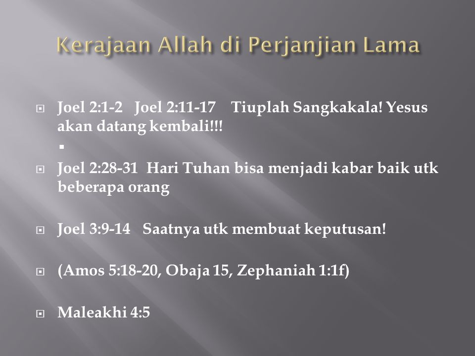 Kerajaan Allah di Perjanjian Lama
