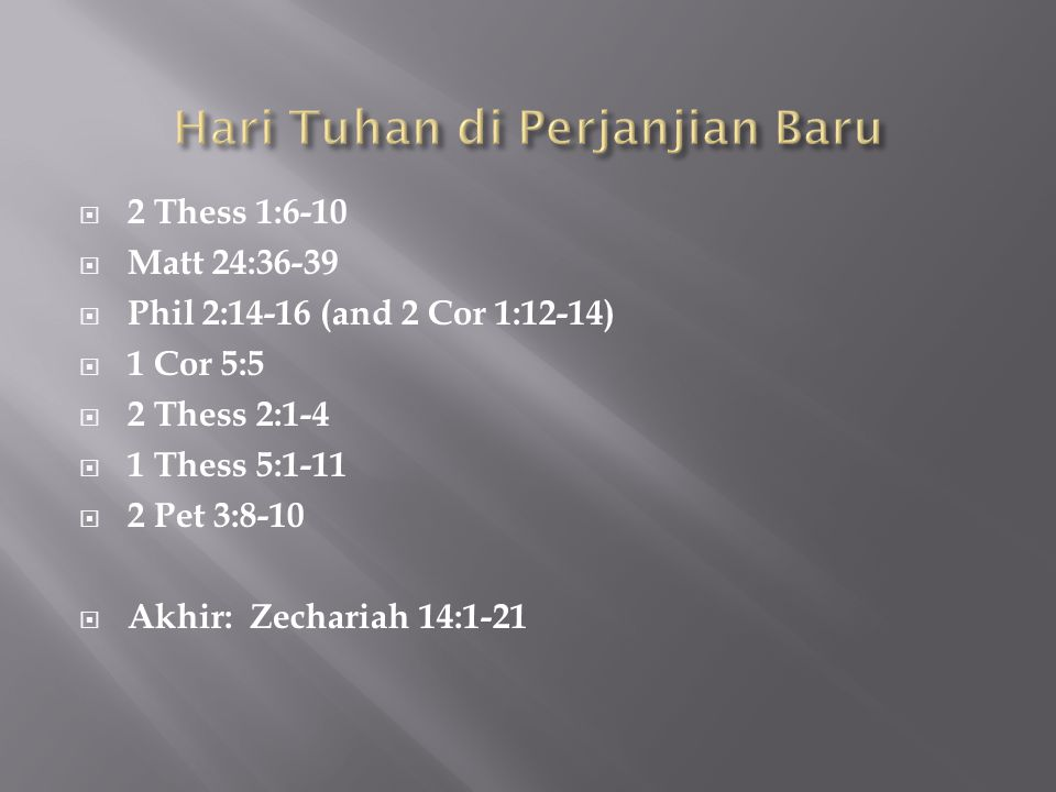 Hari Tuhan di Perjanjian Baru