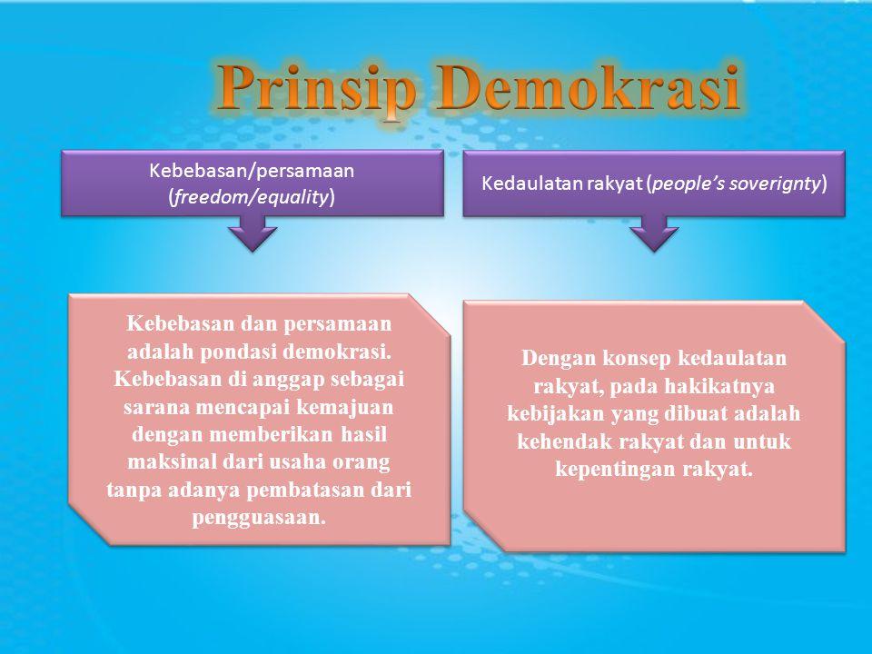 Prinsip Demokrasi Kebebasan/persamaan (freedom/equality) Kedaulatan rakyat (people's soverignty)