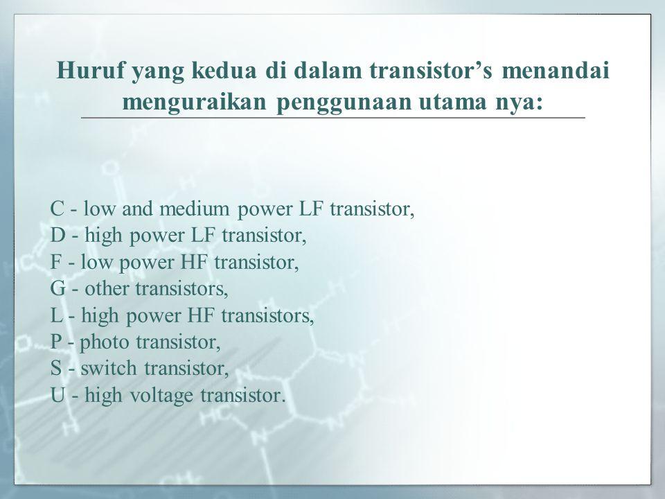 Huruf yang kedua di dalam transistor's menandai menguraikan penggunaan utama nya: