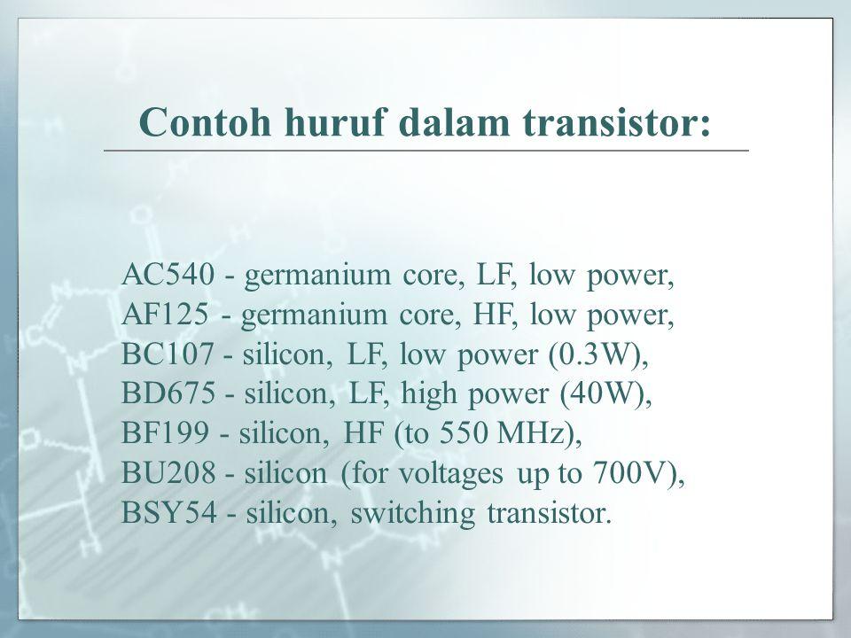 Contoh huruf dalam transistor: