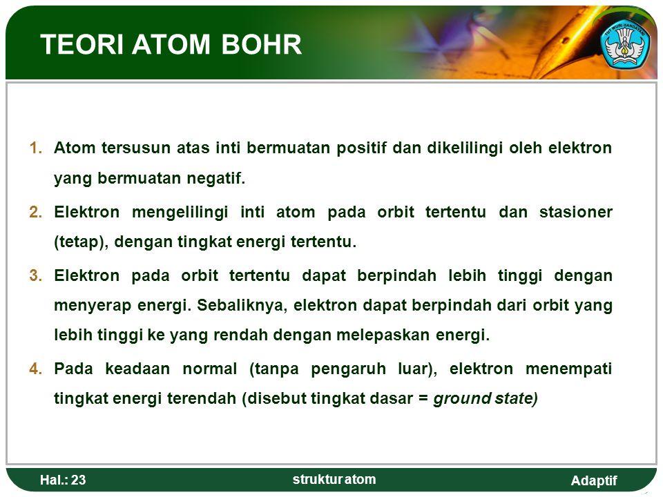 TEORI ATOM BOHR Atom tersusun atas inti bermuatan positif dan dikelilingi oleh elektron yang bermuatan negatif.