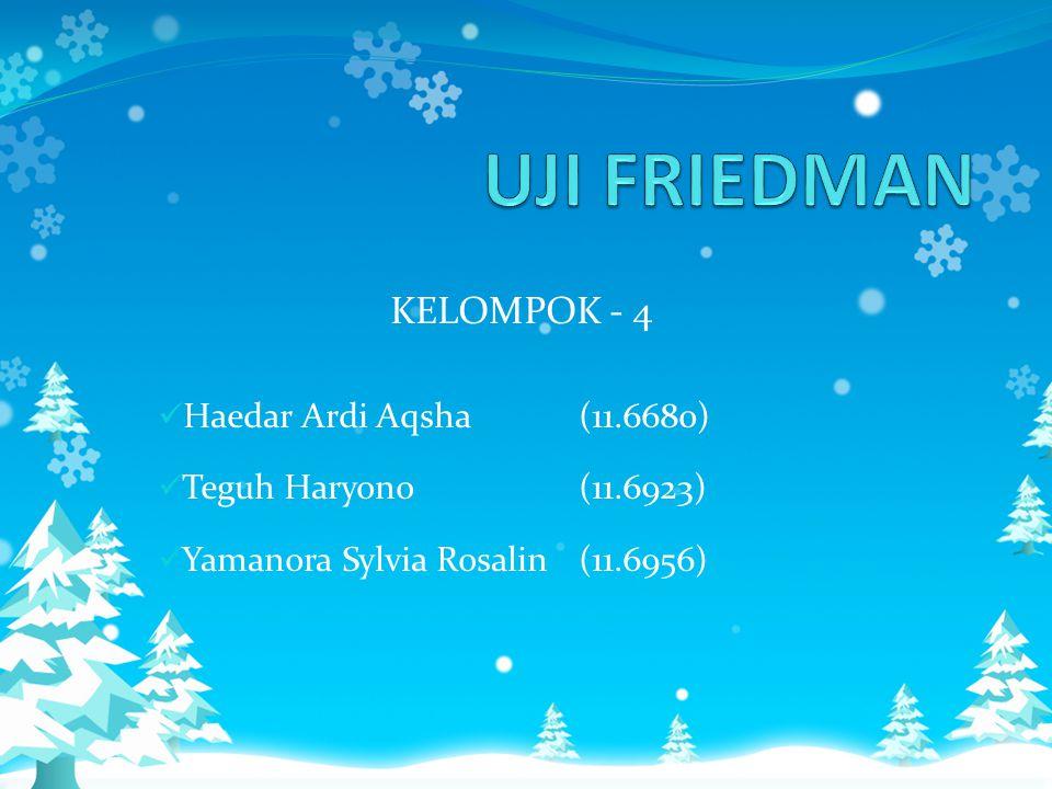 UJI FRIEDMAN KELOMPOK - 4 Haedar Ardi Aqsha (11.6680)