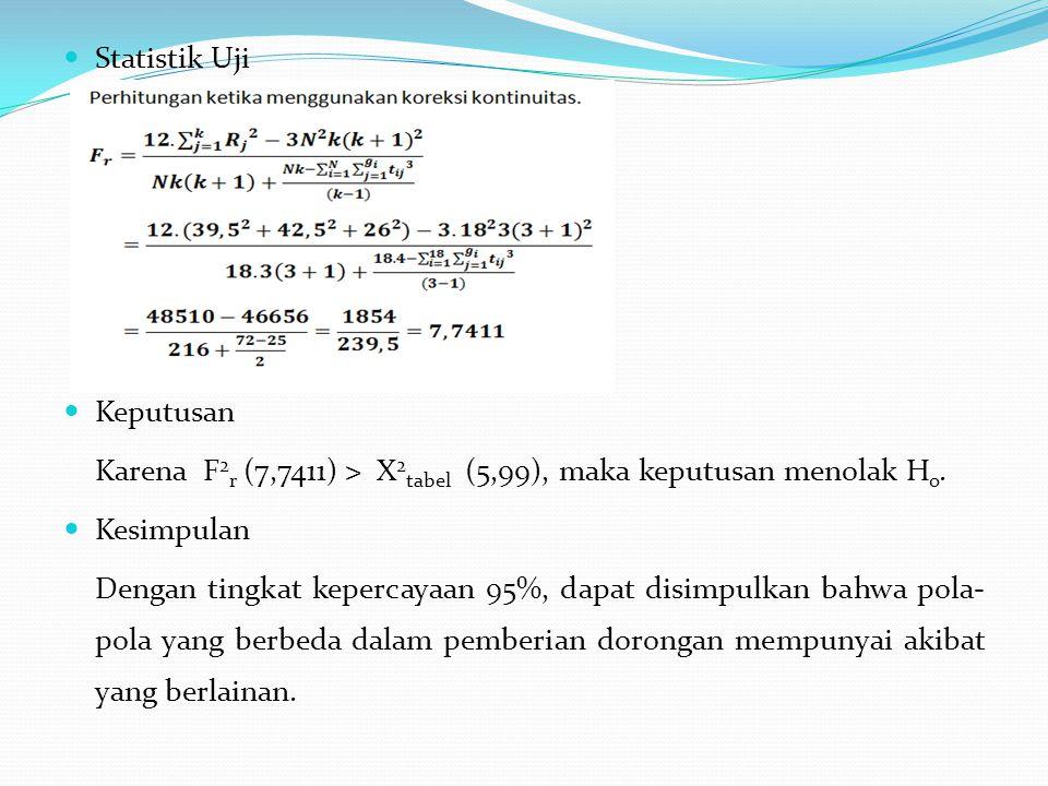 Statistik Uji Keputusan. Karena F2r (7,7411) > X2tabel (5,99), maka keputusan menolak Ho. Kesimpulan.