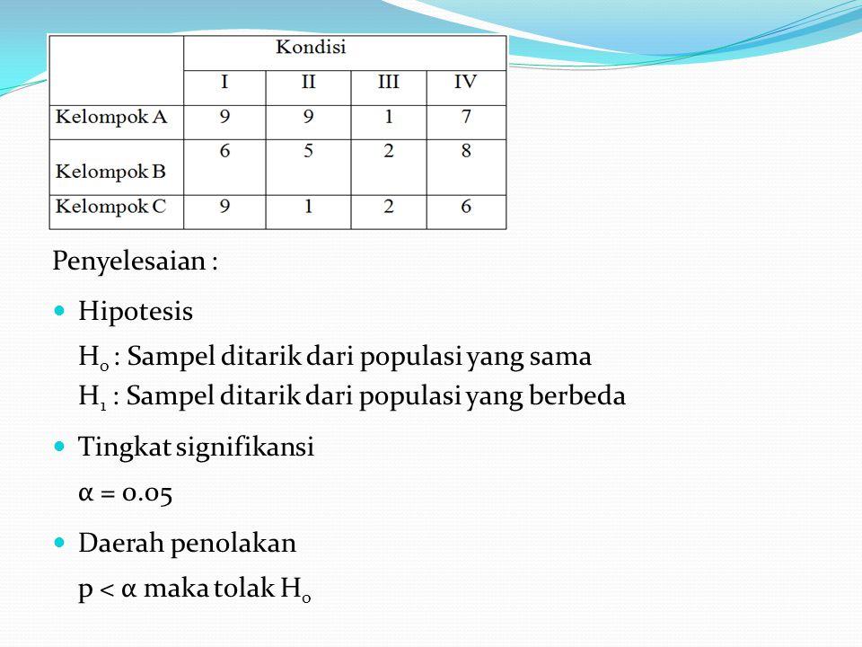 Penyelesaian : Hipotesis. Ho : Sampel ditarik dari populasi yang sama. H1 : Sampel ditarik dari populasi yang berbeda.