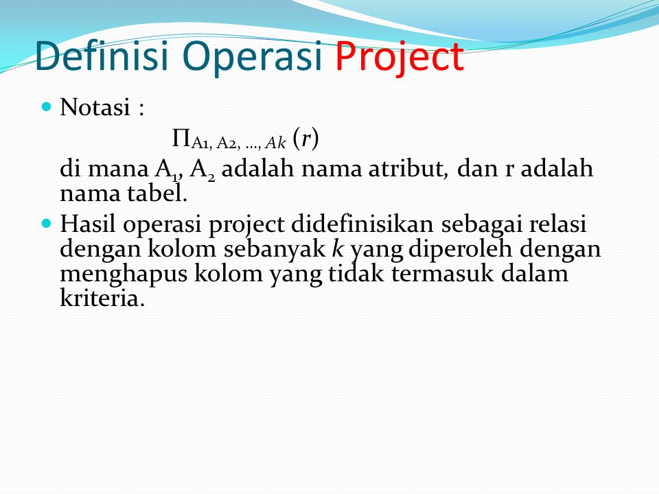 Definisi Operasi Project