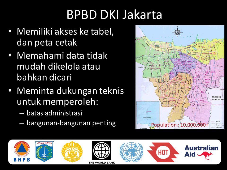 BPBD DKI Jakarta Memiliki akses ke tabel, dan peta cetak